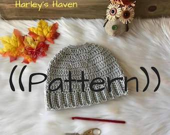 Crochet Messy Bun Beanie PATTERN / PDF / Digital Download / Adult and Child Size
