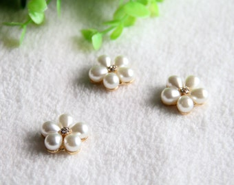 2 pcs Rhinestone Button,Brooch,Embellishment Pearl Crystal,Wedding Brooch,Hair Comb Clip(29-7)