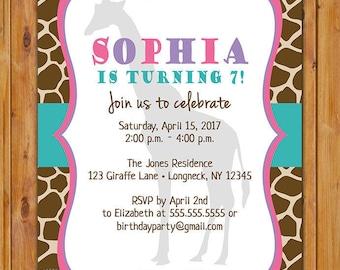 Giraffe Birthday Party Invitation Zoo Theme Party Girls 1st 5th 6th 7th 8th Any Age Birthday Pink Purple Teal 5x7 Digital JPG File (585)