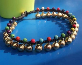 """New year gift/Valentines jewelry/women chain mix multicolor beads/coloful/gold brass charm 10""""anklet from Thailand/summer/holiday/vacation/p"""