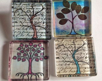 Tree of life magnets, Tree magnets, Glass magnets, Office supplies, Nature magnets, Kitchen magnets, Cubicle decor, Teacher gift, Gifts