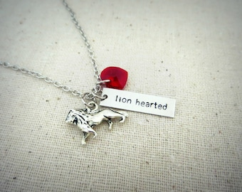 Lion Hearted Hand Stamped Charm Necklace with Lion and Heart Charm