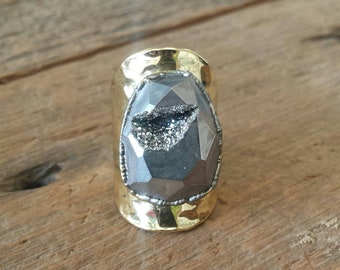 Chrome Faceted Druzy Ring