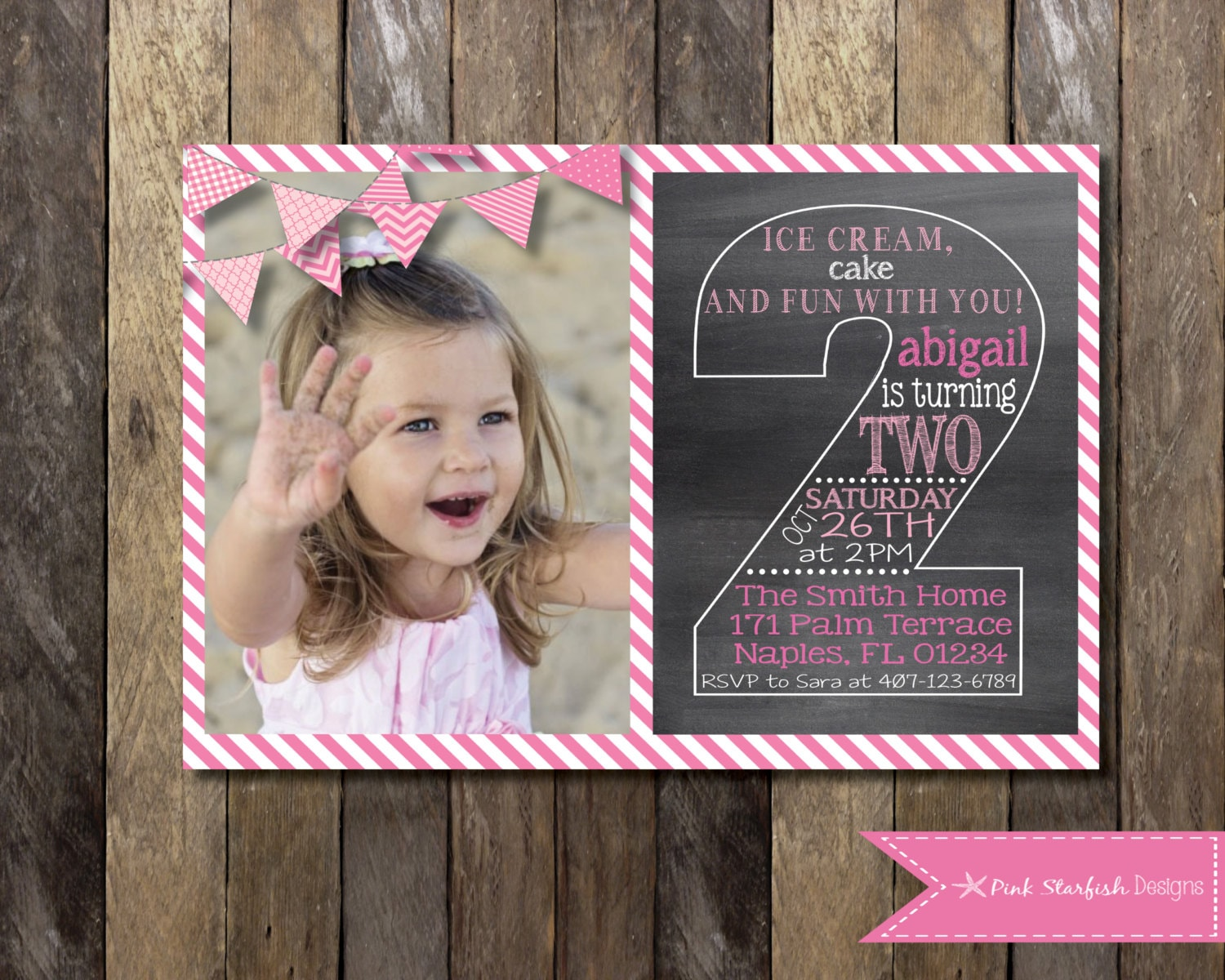 Chalkboard Second Birthday Invitation Second Birthday