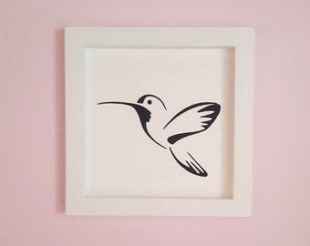 """The wooden white frame  """"Le colibri""""  25x25cm"""