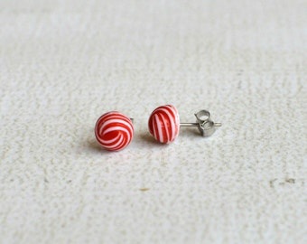 Red and White Swirl Earring Posts- Vintage Titanium Earrings- Vintage Red Swirl Earrings- Small Round Studs- Titanium Red and White Earrings
