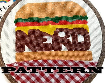 PDF Cross Stitch Pattern Nerd Burger-Burger Art-Gag Gift-DIY-Gifts for Him-Mancave Decor-Insult Pattern-Geekery-Hamburger Art-Restaurant