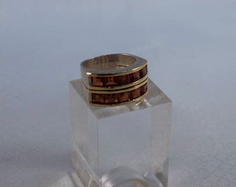 Vintage Double Row Channel Garnet and Sterling Ring