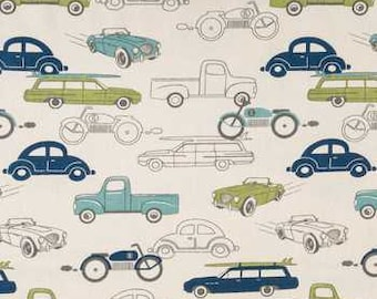 "Vintage Cars trucks VALANCE or PANEL  ~ 12"", 14"", 16"", 22"", 26"", 30"" Green Blue VW Bug Station Wagon  Lined or Unlined ~ You Choose"