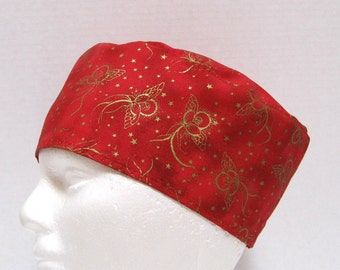 Christmas Red Scrub Hat, Surgical Cap or Chemo Cap with Gold Angels
