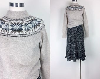 vintage wool sweater pullover sweater women's size S