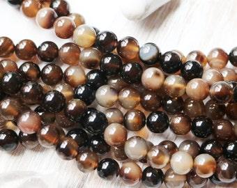 8mm Dark Brown Agate, 8mm Round Beads, Dark Brown Agate, Brown Agate, 8mm Agate, Round Gemstone Beads, Gemstone Beads, Brown Beads,