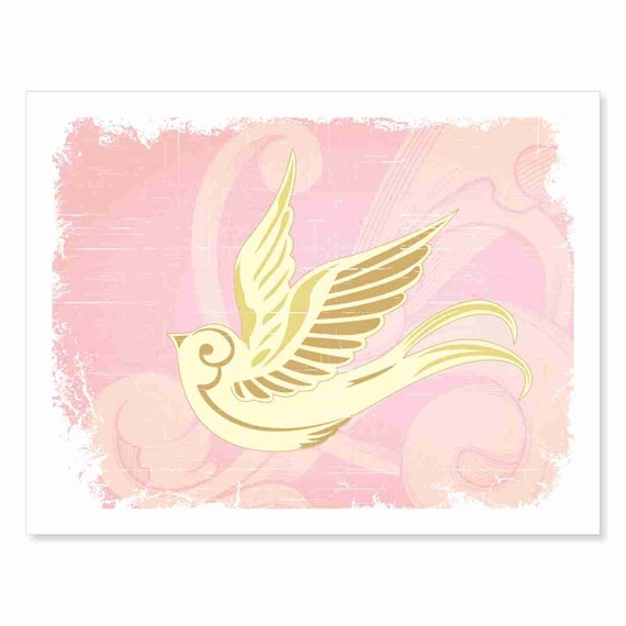 Nursery Art Illustration Print - Hello Little Birdie - French Vintage inspired Art Nouveau Boho floral airy pink and gold Nursery art