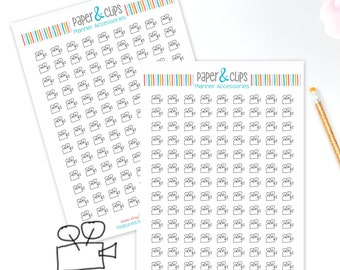 107 Movie Projector Sticker sheet, Movie Night Reminder Stickers, Clear Planner Stickers, Transparent stickers