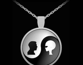 UFO Alien necklace - Alien human Yin Yang - extraterrestrial area 51 pendant
