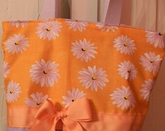 Purple Orange Pastel  Flower Floral Big  Daisy Purse Tote BAG or Diaperbag