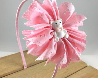 Teddy Bear Headband, Pink Teddy Bear Headband, headband for girls, Hard Teddy Bear Headband, Hard bear Headband, Hard Pink Headband