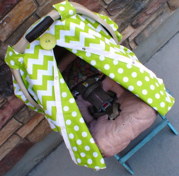 Lime Green Chevron Stripe Carseat Canopy FREE shipping code today  / Car seat cover / car seat canopy / carseat cover / carseat canopy