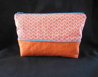 Bag of washed linen fabric and orange cotton print