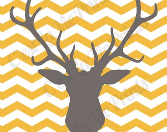 Deer Head Gray and Yellow Chevron Digital Print for Home Decor 8x10 print INSTANT DOWNLOAD