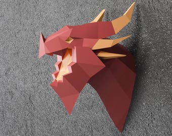 Deathwing Dragon, 3D Papercraft Dragon, World of Warcraft, Hearthstone Dragon, DIY Gift, Origami Head Trophy, Drogon PDF Template, PDF kit
