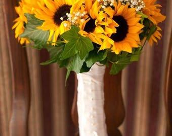 Sunflower Baby's Breath Ivy Bridal Bouquet