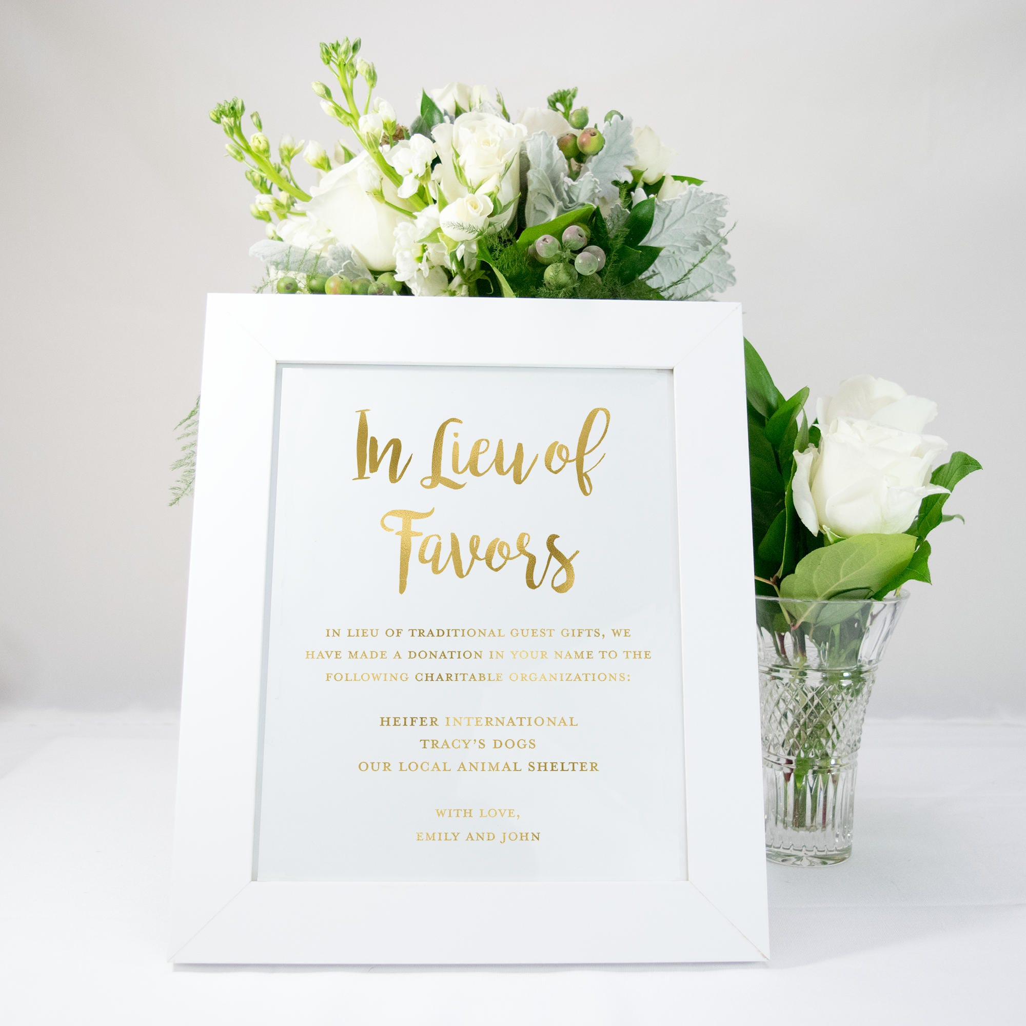 In Lieu of Favors Gold Foil Wedding Sign Wedding Favors
