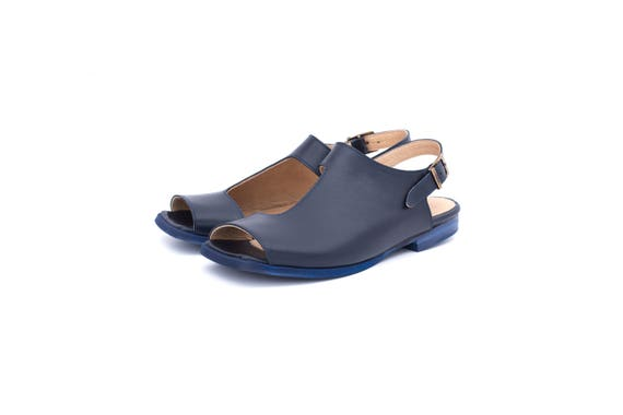 toe sandals geometric Navy cutout adikilav blue Sandals handmade free flat slingbacks Leather shipping sandals square Women's P85wrq8