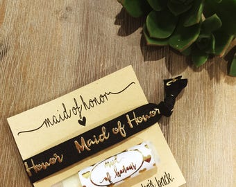 Foil Maid of honour 2pk of hair tie and lip gloss.