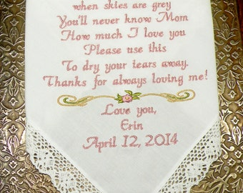 Embroidered Wedding Hankerchief You Are My Sunshine My Only Sunshine Mother of the Bride by Canyon Embroidery