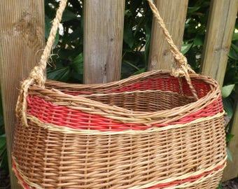 Handmade in France vintage wicker basket / wicker and scoubidou red vintage
