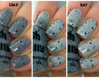 Cloudy Skies--Color Changing Thermal Nail Polish:  Custom-Blended Indie Glitter Nail Polish / Lacquer
