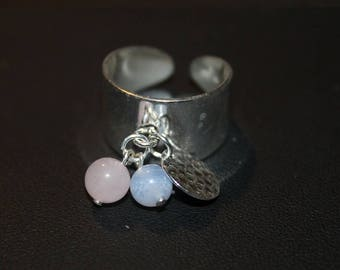 Adjustable ring in silver gems and pearls