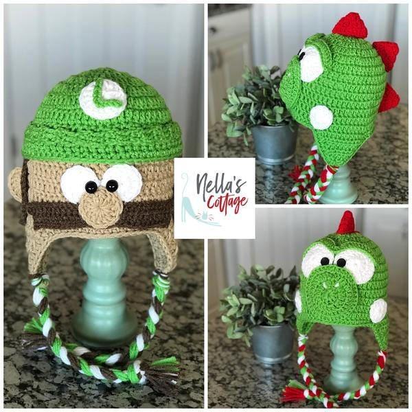 Handmade Hat Mario Bros Hats Louigi Hat Yoshi Hat Crocheted Hat