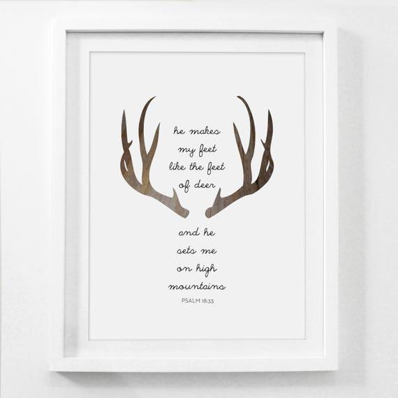 Printable Art Deer Bible Verse Deer Prints Modern Christian