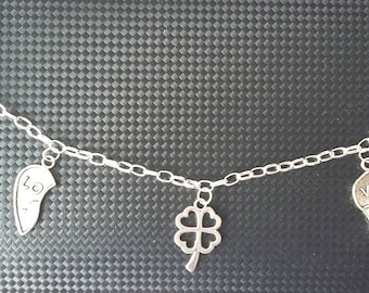 """Silver charm bracelet """"Love and good luck"""""""
