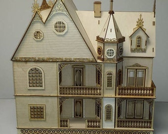 1:24 Scale Wood Gothic Victorian Dollhouse Mansion Kit with French Doors Jasmine Series