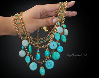 Gemstone Necklace Blue Necklace Turquoise Necklace Aqua necklace Boho Necklace Tropical Layered Necklace Beach Jewelry Aqua Blue Necklace