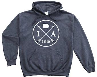 Homeland Tees Iowa Arrow Pullover Hoodie Sweatshirt