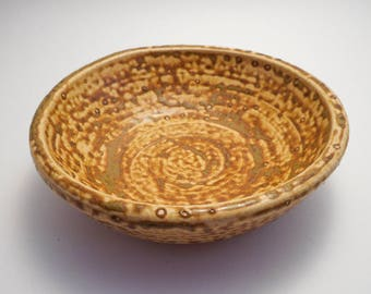 Speckled Tan Stoneware Ceramic Bowl, Handmade Pottery, Hand Painted, Hand Thrown, Kitchenware (B0016)