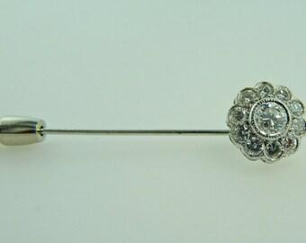 White Gold Stick Pin with Diamonds