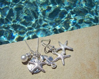 STARFISH EARRINGS & NECKLACE set- Silver Starfish and Sand Dollar Necklace, Beach Wedding, Bridesmaid Jewelry, Starfish Sand Dollar Necklace
