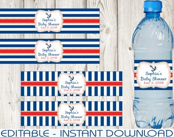 Nautical Water Bottle Labels, Blue, Red, Editable, Baby Shower, Birthday, DIY, PDF, NBRS1