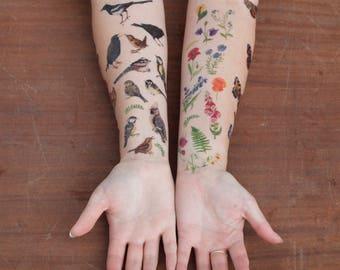 Wildflower Temporary Tattoos | Temporary Tattoo Set | British Wild Flowers | Temporary Tattoos | Floral Tattoos | Flower Illustrated Tattoos