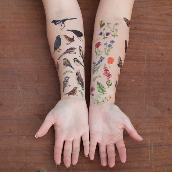 Wildflower Temporary Tattoos   Temporary Tattoo Set   British Wild Flowers   Temporary Tattoos   Floral Tattoos   Flower Illustrated Tattoos by Etsy