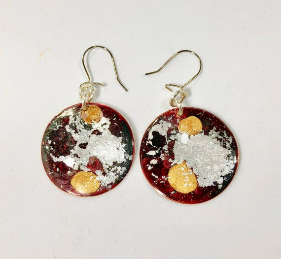 SJC10183 - Handmade round red silver gold enamel silver plated earrings with abstract designs
