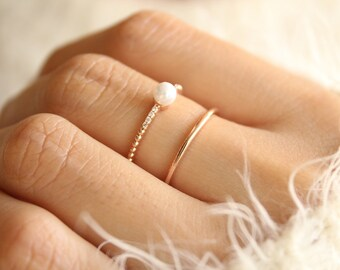 Pearl Ring Rose Gold, Pearl Rose Gold Ring, Rose Gold Stacking Rings, Stacking Rings, Adjustable Rings,Pearl Band