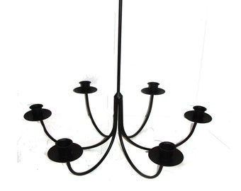 Wrought Iron 6 Arm Candle Chandelier Candolier -DIY Wedding - Hanging Light Fixture - Indoor / Outdoor - Paintable --Handmade in the USA