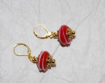 Red Glass Bead Earrings Dangling  Beads