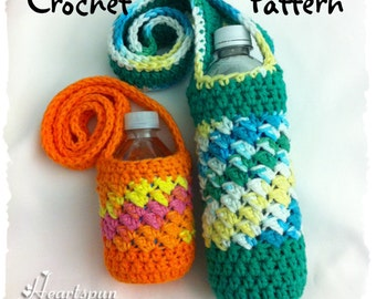 CROCHET PATTERN to make a Sideways Shell Water Bottle Holder / Drink Carrier in 2 sizes, Full size and Mini Size.  Instant download, PDF